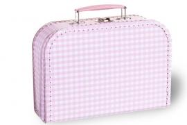 Lief roze met witte ruiten koffertje 25cm