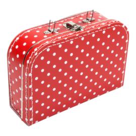 Rood met witte stippen koffertje 25cm