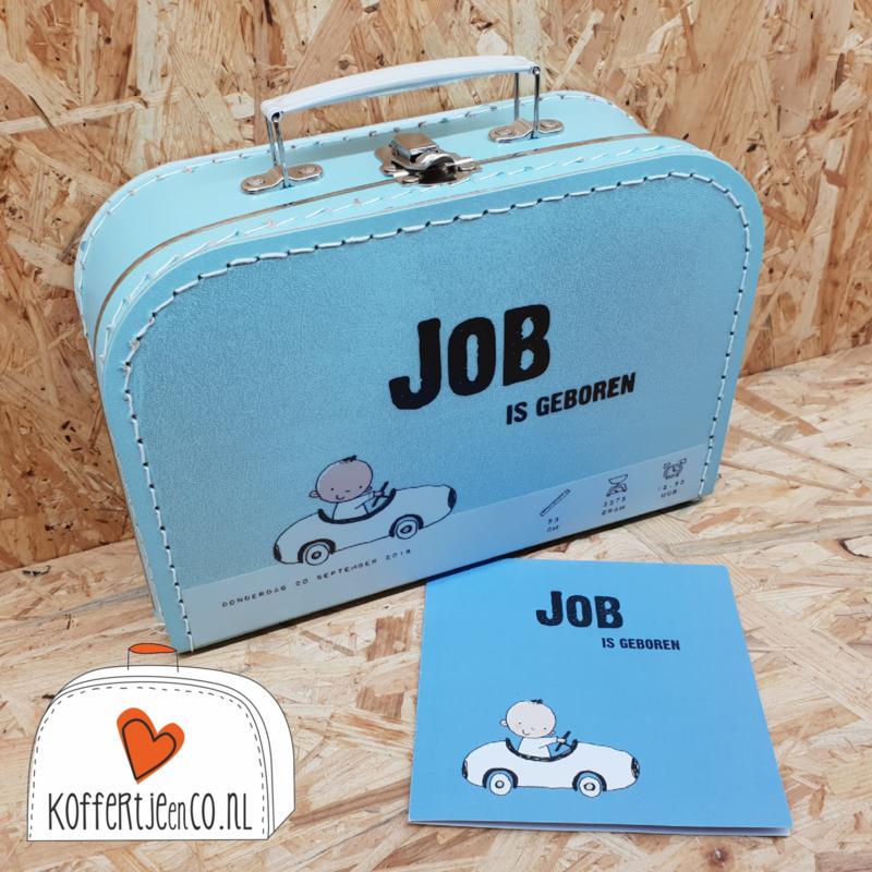 Koffertje van geboortekaartje