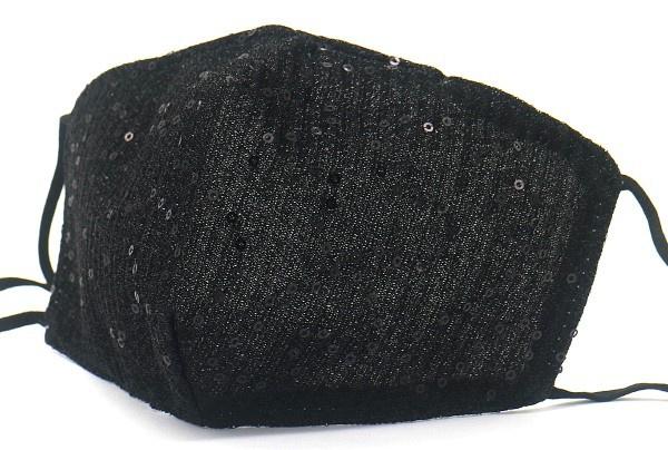Mondkapje GLITTER black