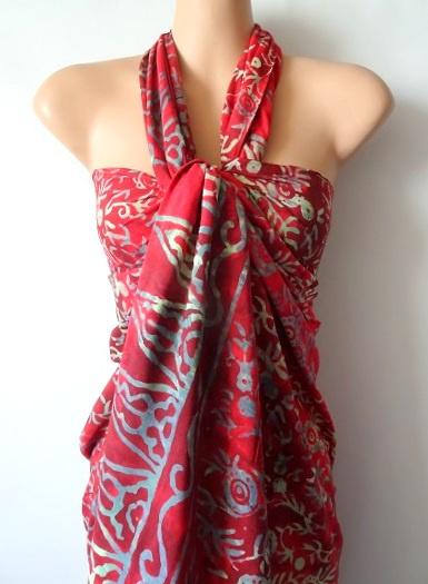 Sarong RED FLOWER, High maat S (standaardmaat) en M/L