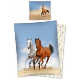 Dekbedovertrek Wit Bruin Paard Strand