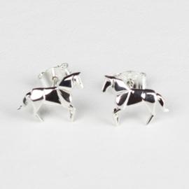 Oorknopjes Origami Paard - Zilver