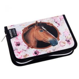 Gevuld Etui Paard Roze Rozen