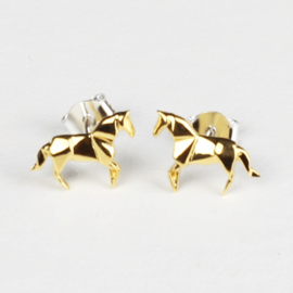 Oorknopjes Origami Paard - Goud