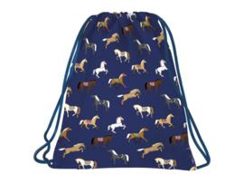 Gymtas Paarden Blauw Back Up