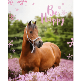 "Flanellen Deken Paard ""Be Happy"""