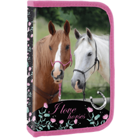 """Gevuld Etui Paard """"I love horses"""""""