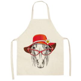Keukenschort Paard Met Bril En Hoed