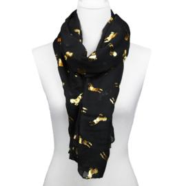 Sjaal Glimmend Gouden Paarden - Zwart
