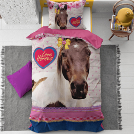 Dekbedovertrek Love Horse - Roze 140 x 200