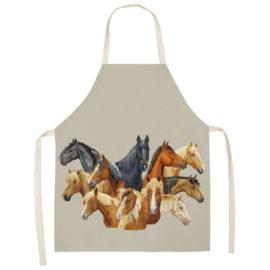Keukenschort Paardenhoofden - Grijs