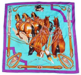 Sjaal Ingespannen Paarden - Blauw