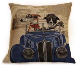 Gobelin Kussen Twee Honden in een Auto