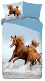 Dekbedovertrek Paard met veuelen, blauw.