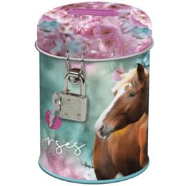 """Paarden Spaarpot """"I love horses"""" met Slotje"""