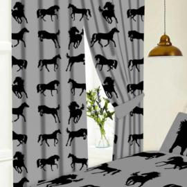 Gordijnen Zwarte Paarden - Grijs