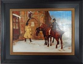 Paarden voor herberg