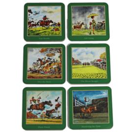 Onderzetterset Thelwell Race Paarden 6 stuks
