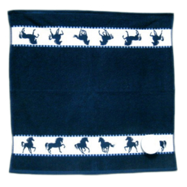 Paarden Keuken Handdoek - Blauw