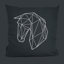 """Paardenkussen """"Geometric"""" - Zwart"""