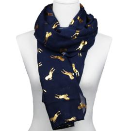 Sjaal Glimmend Gouden Paarden - Navy