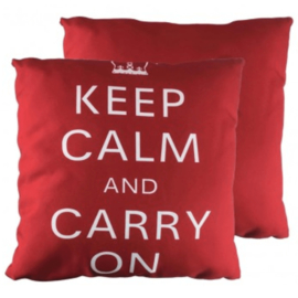 "Kussen ""Keep Calm And Carry On"" - Rood"
