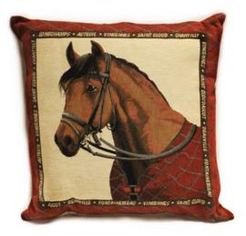 Gobelin Kussen paardenhoofd bruin