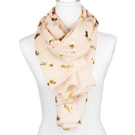 Sjaal Glimmend Gouden Paarden - Roze