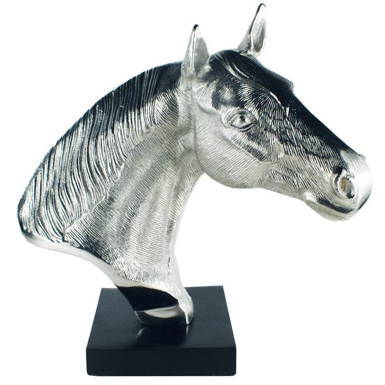 """Champion"" Beeld Paardenhoofd - Aluminium Nikkel"