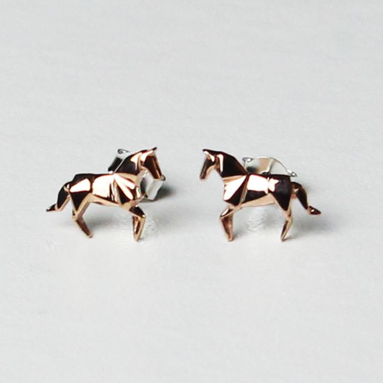 Oorknopjes Origami Paard Roségoud