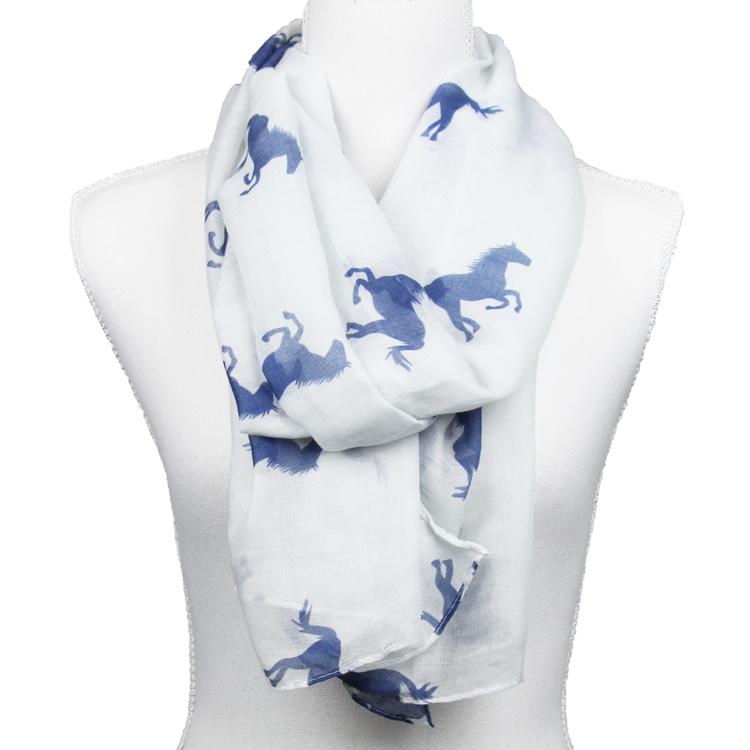 Sjaal Blauwe Paarden - Wit