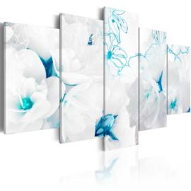 643 Blauw Witte Bloemen Modern