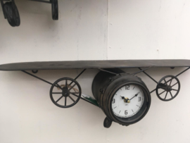 Retro Vliegtuig Zwart Wandklok