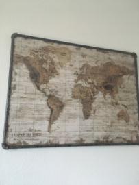 wereldkaart Landen Canvas met Metaal 60x80cm