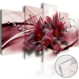 28 Modern Rood Bloemen Acrylglas Schilderij