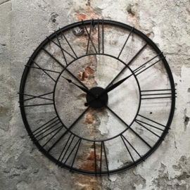 Stoer Zwart Metalen Wandklok 57x6cm