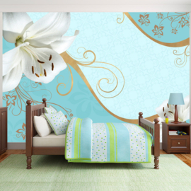 Blauw Modern Bloemen nr 713