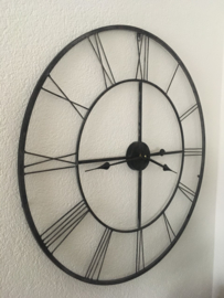 Stoer Zwart Grijs Roest Metalen Wandklok 78cm