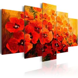 nr44 Modern Rood Oranje Bloemen