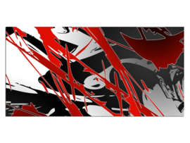 34 Abstract Grijs Rood Glas Schilderij