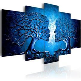nr79 Abstract Bomen Gezichten Blauw