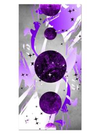 138 Abstract Paars Planeten Glas Schilderij