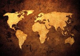 Wereldkaart Bruin nr3