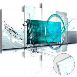 5 Abstract Grijs Blauw Acrylglas Schilderij