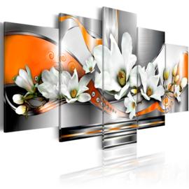 603 Oranje Grijs Modern Bloemen
