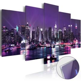 13 Paars New York Skyline Acrylglas Schilderij