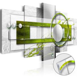 35 Abstract Groen Grijs Acrylglas Schilderij