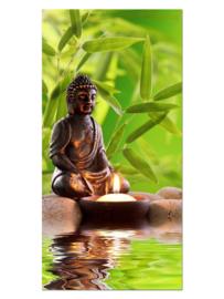 111 Buddha Kaars Glas Schilderij
