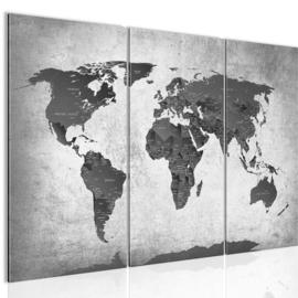 nr 114 Wereldkaart Grijs Zwart Landen